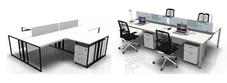 Four Person White Desks
