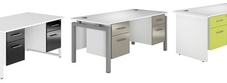 White Desks with Fixed Drawers