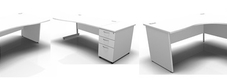 White Desks with Desk Height Drawers