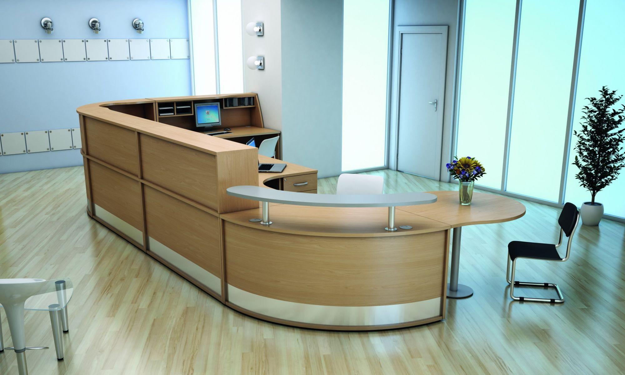 Straight Reception Desk With Wooden Shelf Avalon 1000mm Desk Online Reality
