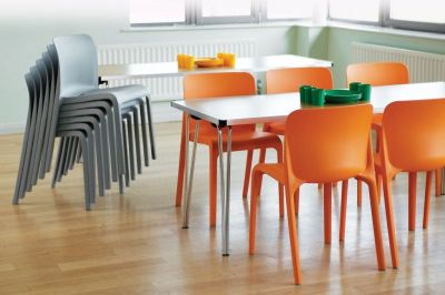 Canteen With POP Orange And Grey Stackable Chairs