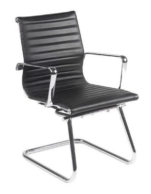Aria Eames Style Cantilever Boardroom Chair In Black Leather With Chrome Frame