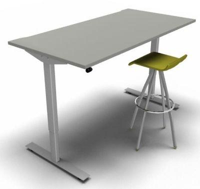 Height Adjustable Desk Slate Silver Frame Green Stool 2