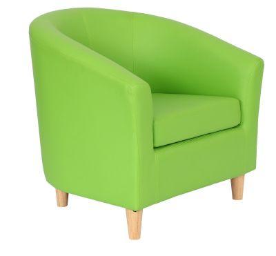 Tritium Tub Chairs With Wooden Feet Lime Green Front Angle