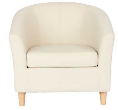 Tritium Tub Chairs In Cream Width Wooden Legs Front View