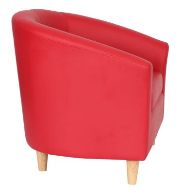 TRitium Red Tub Chair With Wooden Feet Side View