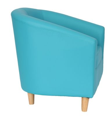 Tritium Light Blue Tub Chairs With Wooden Feet Side View