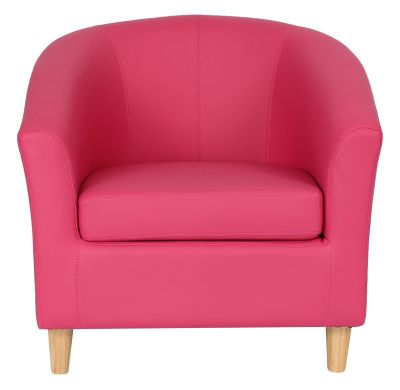 TRitium Tub Chair In Pink With Wooden Legs Front View