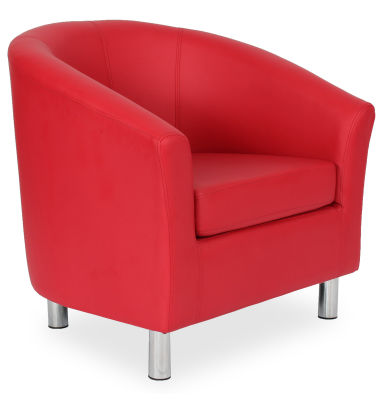 Tritium Tub Chair In Red 45 Side View