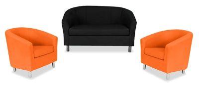 Tritium NEXT DAY Coloured Leather Sofas Bundle 2 Orange