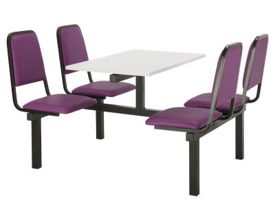Cheshire 4 Person Double Access Fast Food Seating With Purple Vinyl Seating And White Table Top