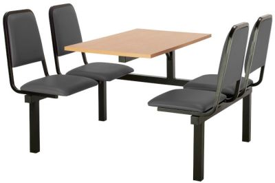 Cheshire 4 Person Single Access Fast Food Seating With Grey Vinyl Seating And Beech Table Top