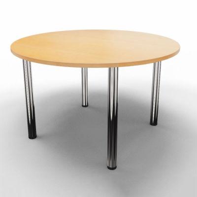 Circular Modular Table - Beech With Chrome Legs