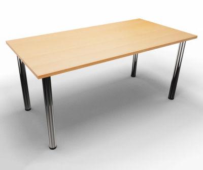 Rectangular Modular Table - Beech With Chrome Legs