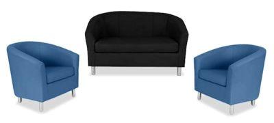 Tritium NEXT DAY Coloured Leather Sofas Bundle 2 Dark Blue