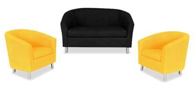 Tritium NEXT DAY Coloured Leather Sofas Bundle 2 Yellow