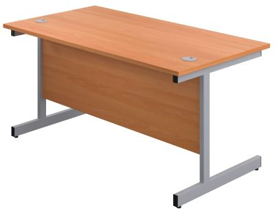 Abacus 1600mm Shallow Desk In Beech Angle View